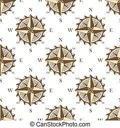 Vintage nautical compass seamless pattern