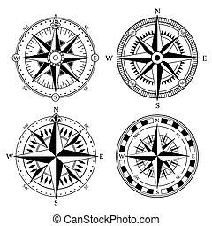 Vintage nautical compass signs vector set, retro direction symbols