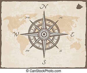 Vintage Nautical Compass._Old Map Vector Paper Texture - ...