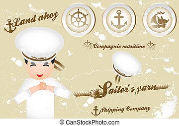 Vintage nautical design elements and sailor