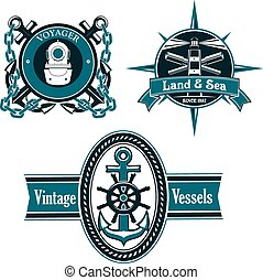 Vintage nautical emblems with marine elements