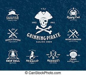 Vintage Nautical Labels or Design Elements With Retro Textures and Typography. Pirates, Harpoons, Knots, Seashells, Mermaid, Sailfish, Bells, etc. Fits Perfect for a T-shirt Design, Posters, Flayers, Logos so on. Vector Illustration on Dark Blue Background.
