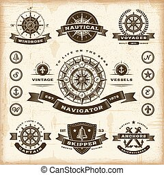 Vintage nautical labels set - A set of fully editable...