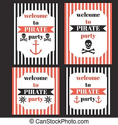 Pirate set invitation vector template of a birthday eps vintage nautical pirate party invitation stopboris