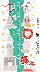 Vintage nautical. sea animals, boats, lighthouse. cute objects collection. Children height meter wall Sticker Vector