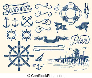 Vintage nautical set - Use this stuff everywhere you need...
