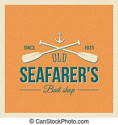 Vintage Nautical Vector Label or Logo with Retro Print Look