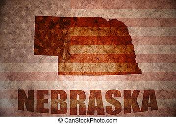 nebraska map on a vintage american flag background