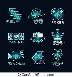 Vintage neon poker tournament and casino vector icons