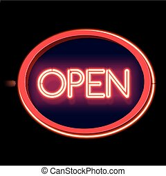 Vintage neon sign Open