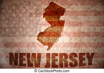 Vintage new jersey map - new jersey map on a vintage...