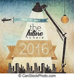 Retro cartoon style New Year greetings illustration. Vintage Christmas Postcard Illustration. New 2016 year greeting card. Happy new Year 2016. Futuristic illustration.