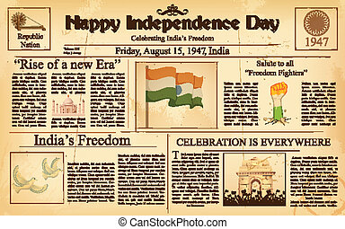 Vintage newspaper for Happy Independence Day of India