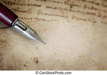 Vintage Nib Pen over Grunge Text - Vintage nib pen over page...