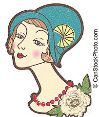 Vintage nice woman in a hat.Vector illustration isolated on white for design
