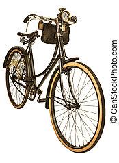 Vintage nineteenth century bike isolated on white