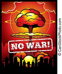 Vintage no war vector poster with explosion of atomic bomb and nuclear mushroom. World armageddon background
