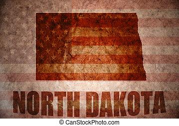 north dakota map on a vintage american flag background