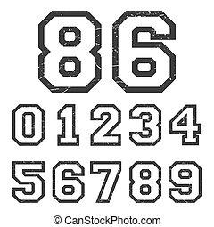 Vintage numbers stamp - T-shirt print design. Vintage...