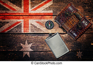 Vintage objects, flask, chest box, compass and flag