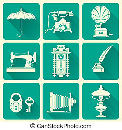 Vintage objects icons