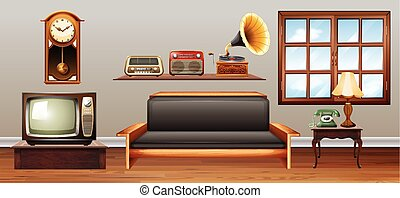 Vintage objects in the living room
