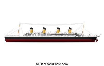 Vintage Ocean Liner isolated on white background. 3D render