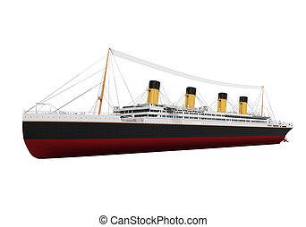 Vintage Ocean Liner isolated on white background. 3D render