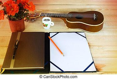 (vintage, och, instagram, look), tom, a4, anteckna, och, blyertspenna, på, trä tabell, med, bakgrund, av, ukulele, och, kaffe kopp