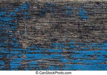 Vintage of old wooden with blue color background.