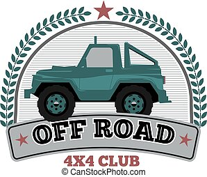 Vintage Off road car logo template with wreath and star. Vector illustration.