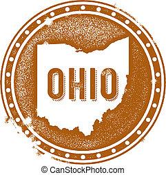 Vintage Ohio USA State Stamp - Vintage style distressed Ohio...