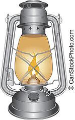 Vintage Oil Lamp or Lantern - Illustration of a vintage oil...