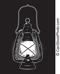 Vintage oil lantern or kerosene lamp - Hand drawn grunge...