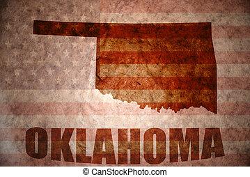 Vintage oklahoma map - oklahoma map on a vintage american...