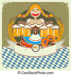Vintage oktoberfest symbol label with girl and beer on old paper texture for text
