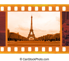 vintage old 35mm frame photo film with Eiffel Tower in Paris...