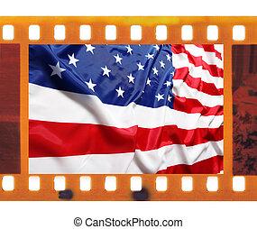 vintage old 35mm frame photo film with USA flag