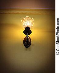 Vintage old bedroom lamp on wall