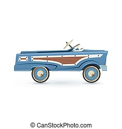 Vintage, old blue toy pedal car, Isolated on white background. Vector illustration.