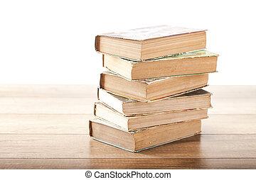 vintage old book on wooden background