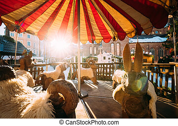 Vintage Old Carousel On Christmas Market On The Dome Square ...