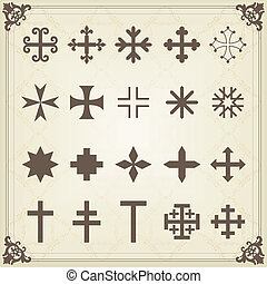 Vintage old cemetery crosses and graveyard cross silhouettes