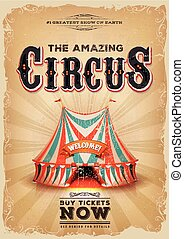 Vintage Old Circus Poster With Red And Blue Big Top -...