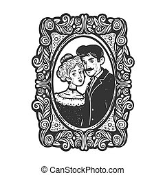 Vintage old fashioned photo of a married couple sketch engraving vector illustration. T-shirt apparel print design. Scratch board imitation. Black and white hand drawn image.
