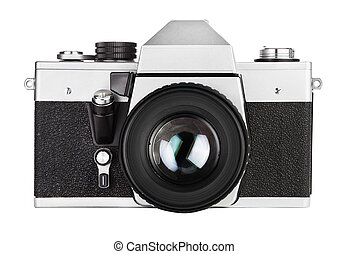 Vintage old film photo-camera, isolated