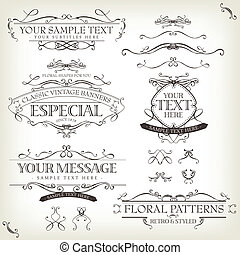 Illustration of a set of retro labels, frames, sketched banners, floral patterns, ribbons, and graphic design elements on vintage old paper background