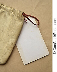 Vintage old leather bag with blank paper