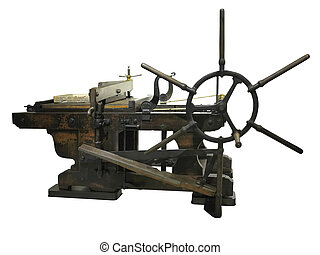 Vintage old letterpress printing manual machine isolated on white background