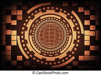 Vintage old light brown circle of globe ring and gears in technology background. Vector illustration design communication concept.